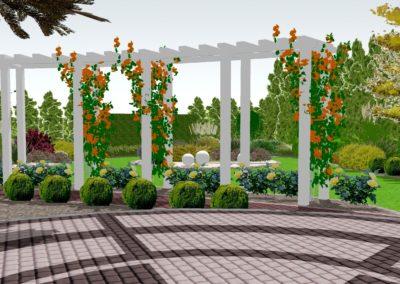 Ogród frontowy z pergolą