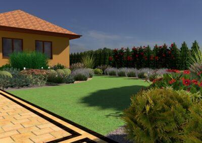 Ogród z czerwonym akcentem